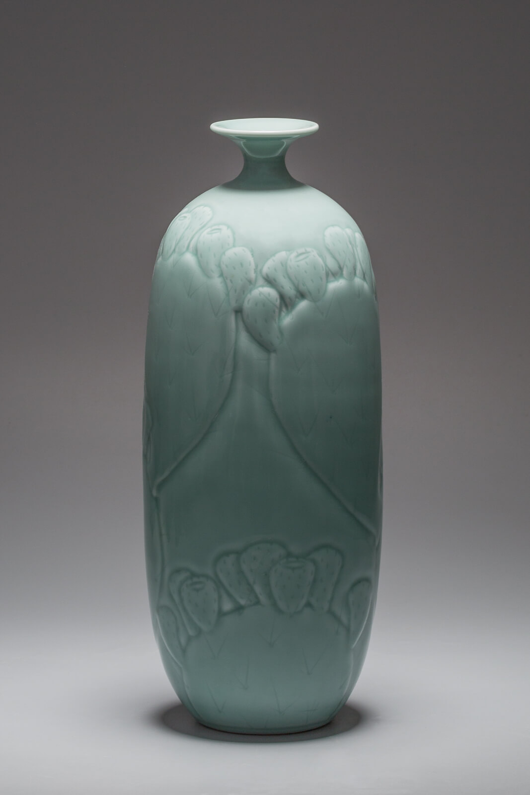 Prickly Pear Bottle, carved porcelain