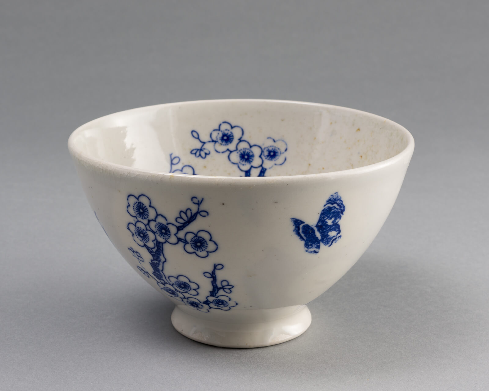 Bowl, wood-fired porcelain with cobalt decals