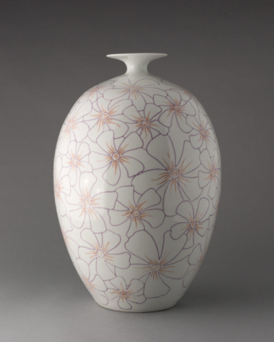 Flower bottle, porcelain with mishima