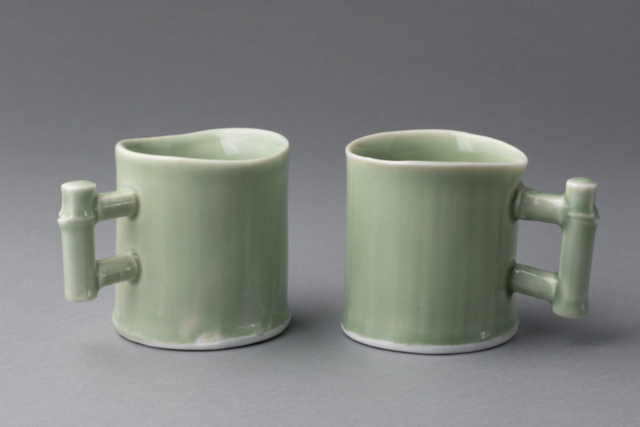 Bamboo cups, porcelain