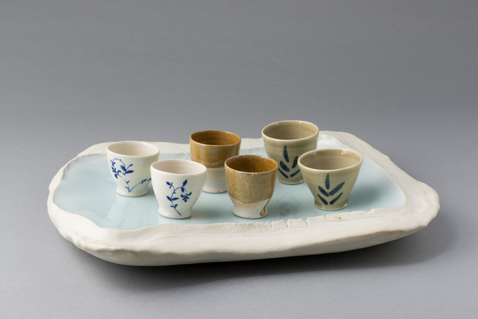 tea cups and tray, porcelain