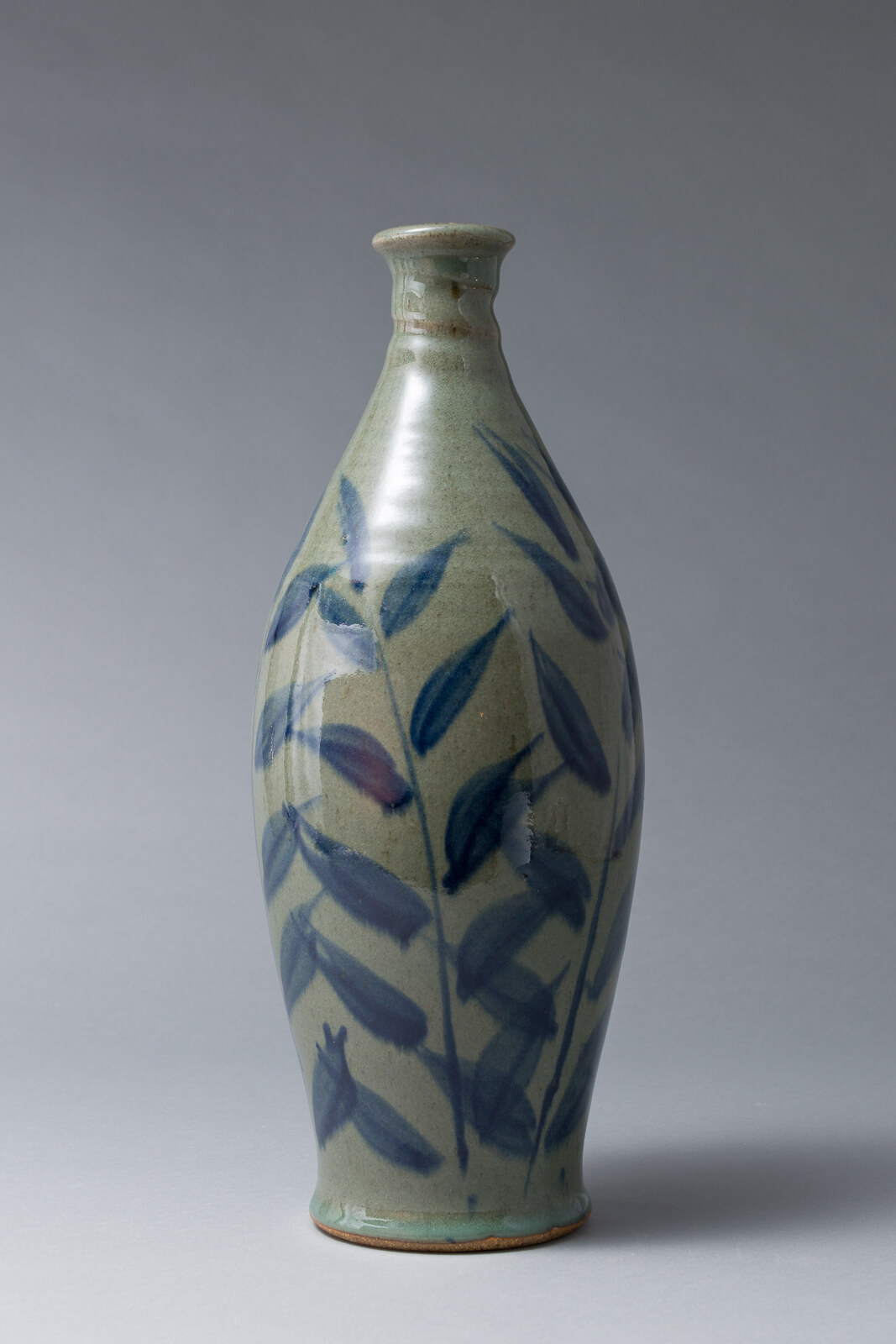 Pecan leaf bottle, stoneware with cobalt brushwork
