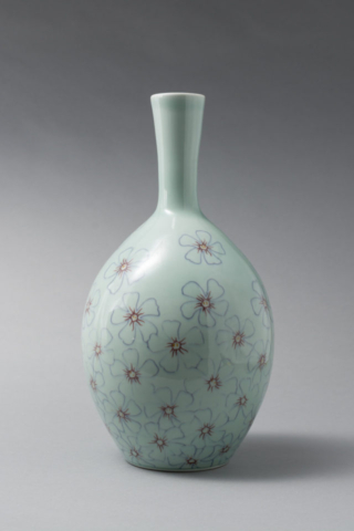 Vinca Bottle, porcelain with mishima