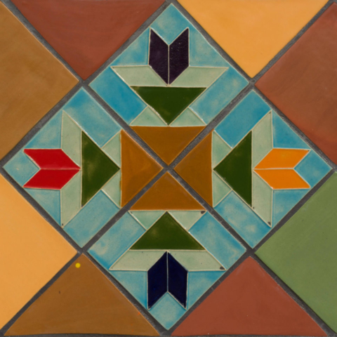 Entrada del Sol, closeup of bench of quilt tiles