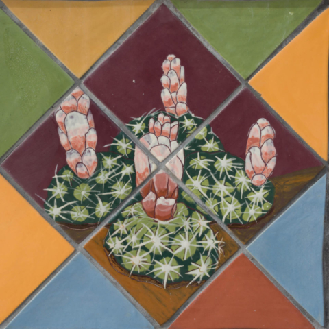 Entrada del Sol, closeup of bench of cactus tiles
