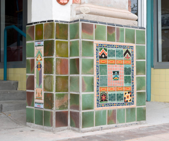 Rio Grande Theatre tile restoration project, north column